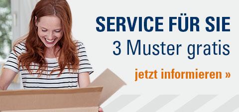 Service für Sie – bis zu 3 Muster gratis